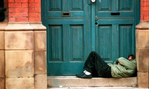 homeless person doorway 008 300x180 The homeless arent negative impacts – they are living victims of policy